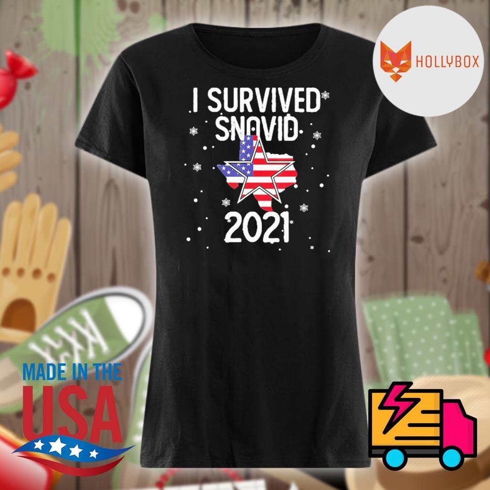 I survived Snovid 21 Texas flag s V-neck