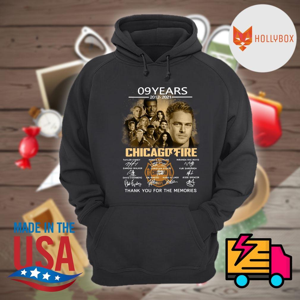 09 years 2012 2021 Chicago Fire signatures thank you for the memories s Hoodie