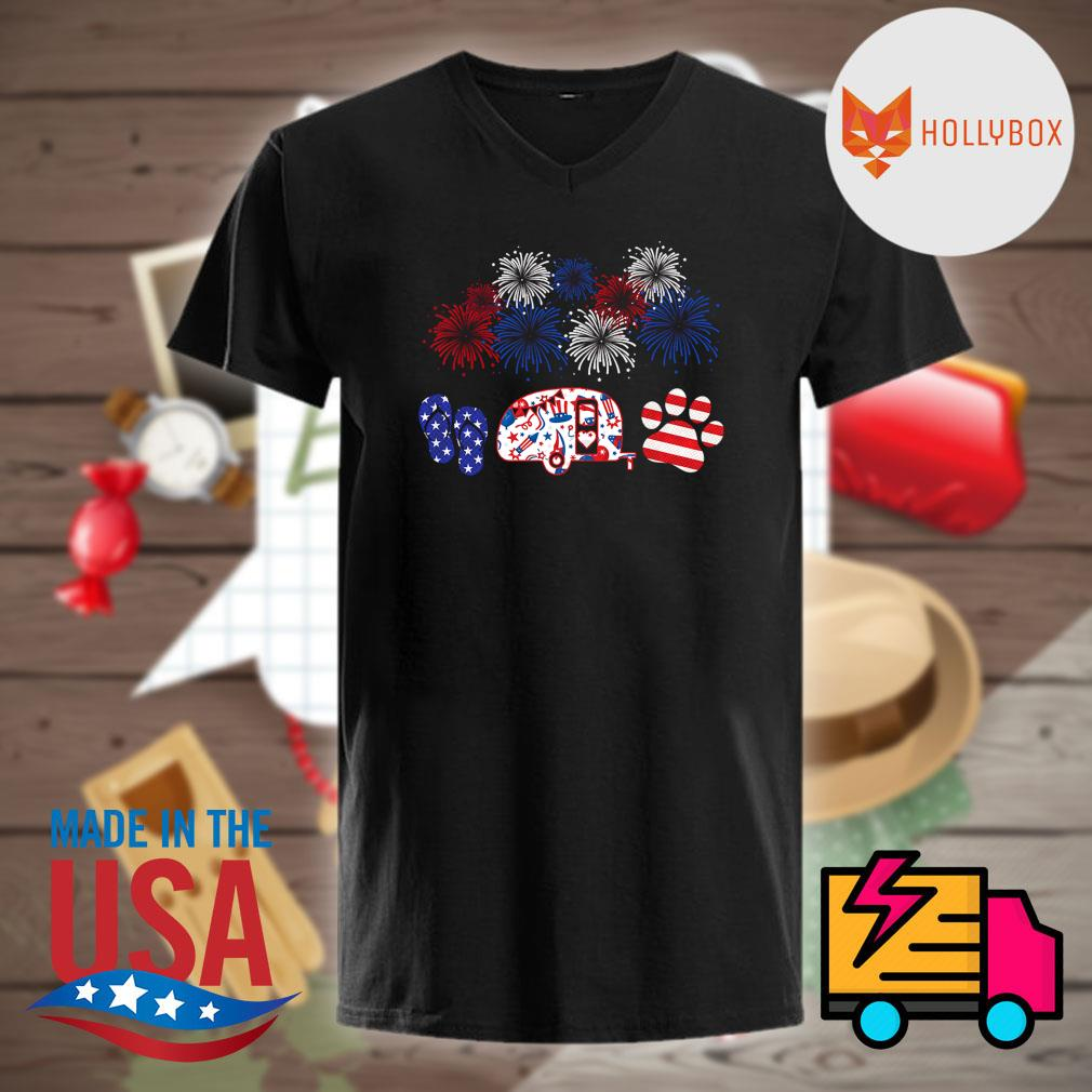 4th July Flip Camping Car Dog shirt