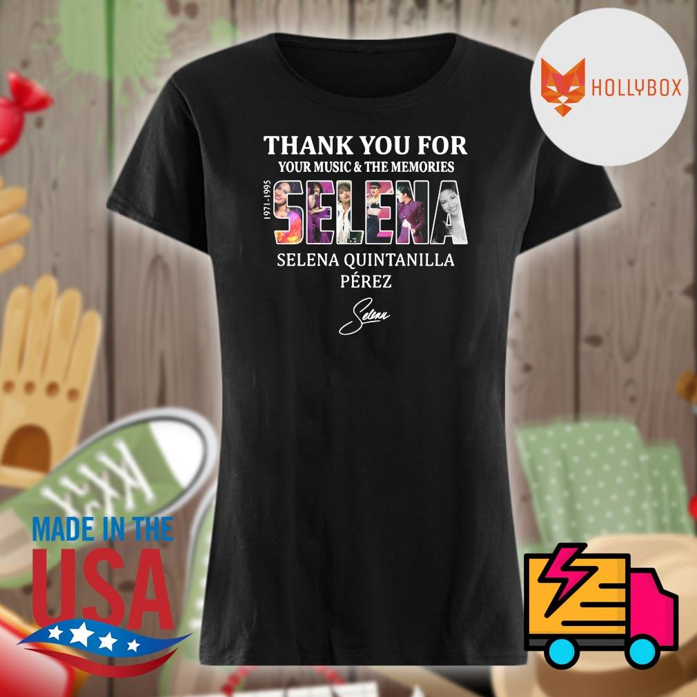 Selena Quintanilla Perez thank you for your music and the memories Selena 1971-1995 signature s V-neck
