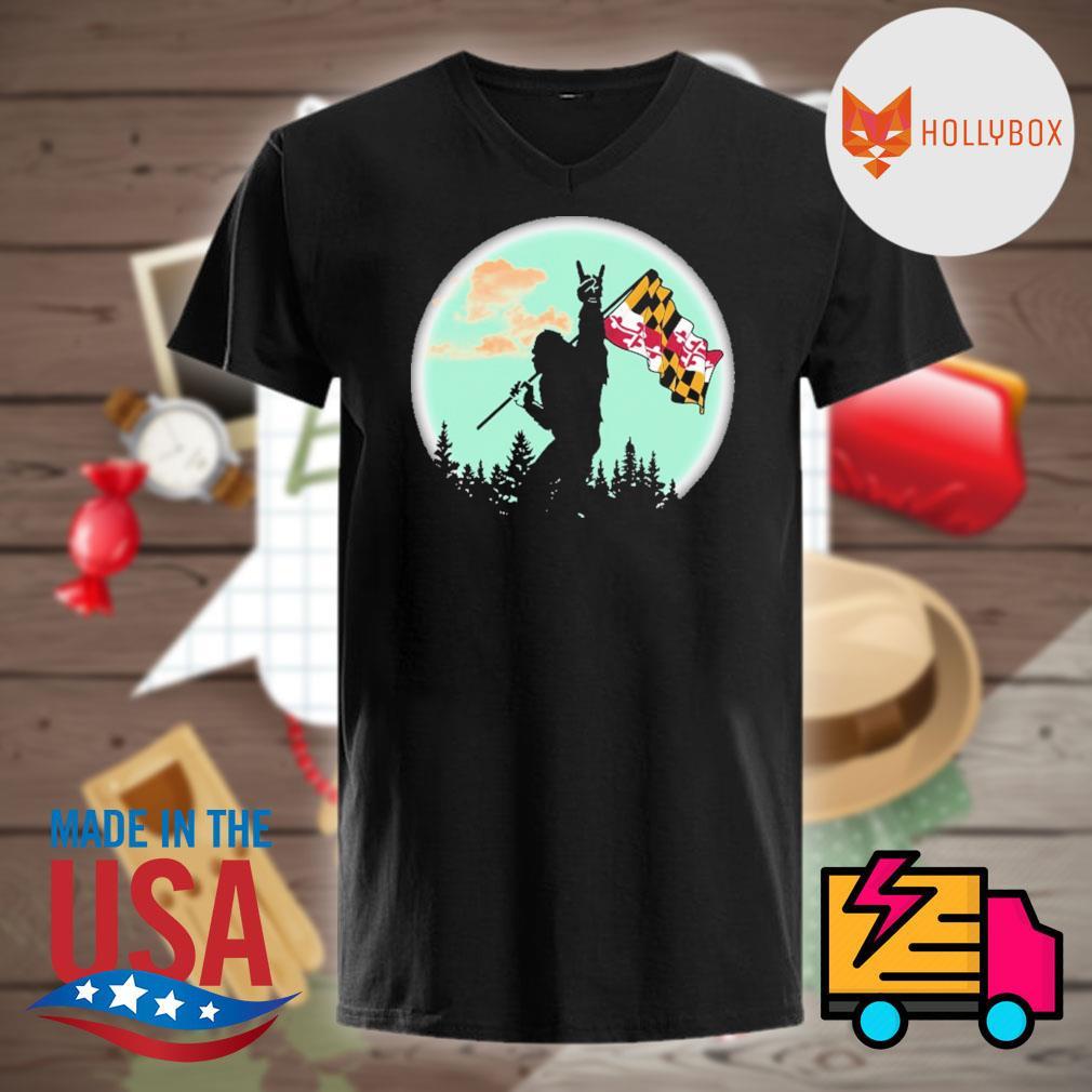 Bigfoot Moon Maryland Flag shirt