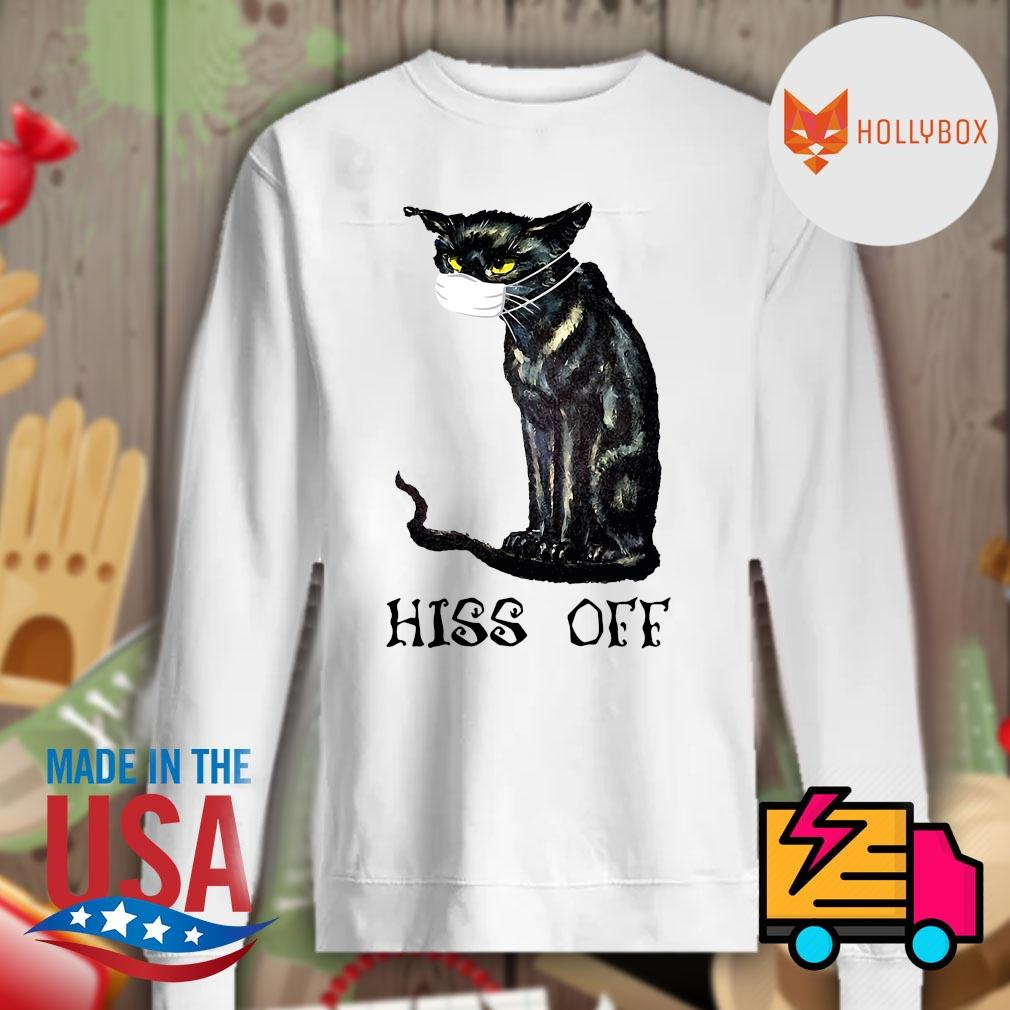 Black cat Covid face mask hiss off s Sweater
