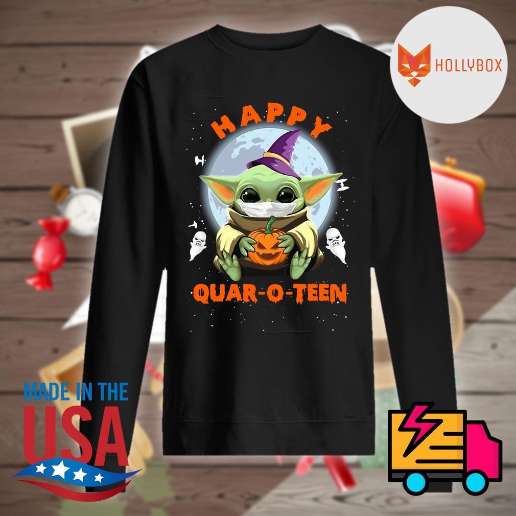 Happy Halloween Baby Yoda Face Mask Hug Pumpkin Quar O Teen Shirt Hoodie Tank Top Sweater And Long Sleeve T Shirt