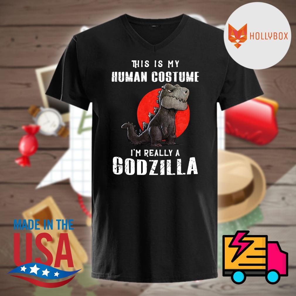 This is my human costume I'm really a Godzilla shirt