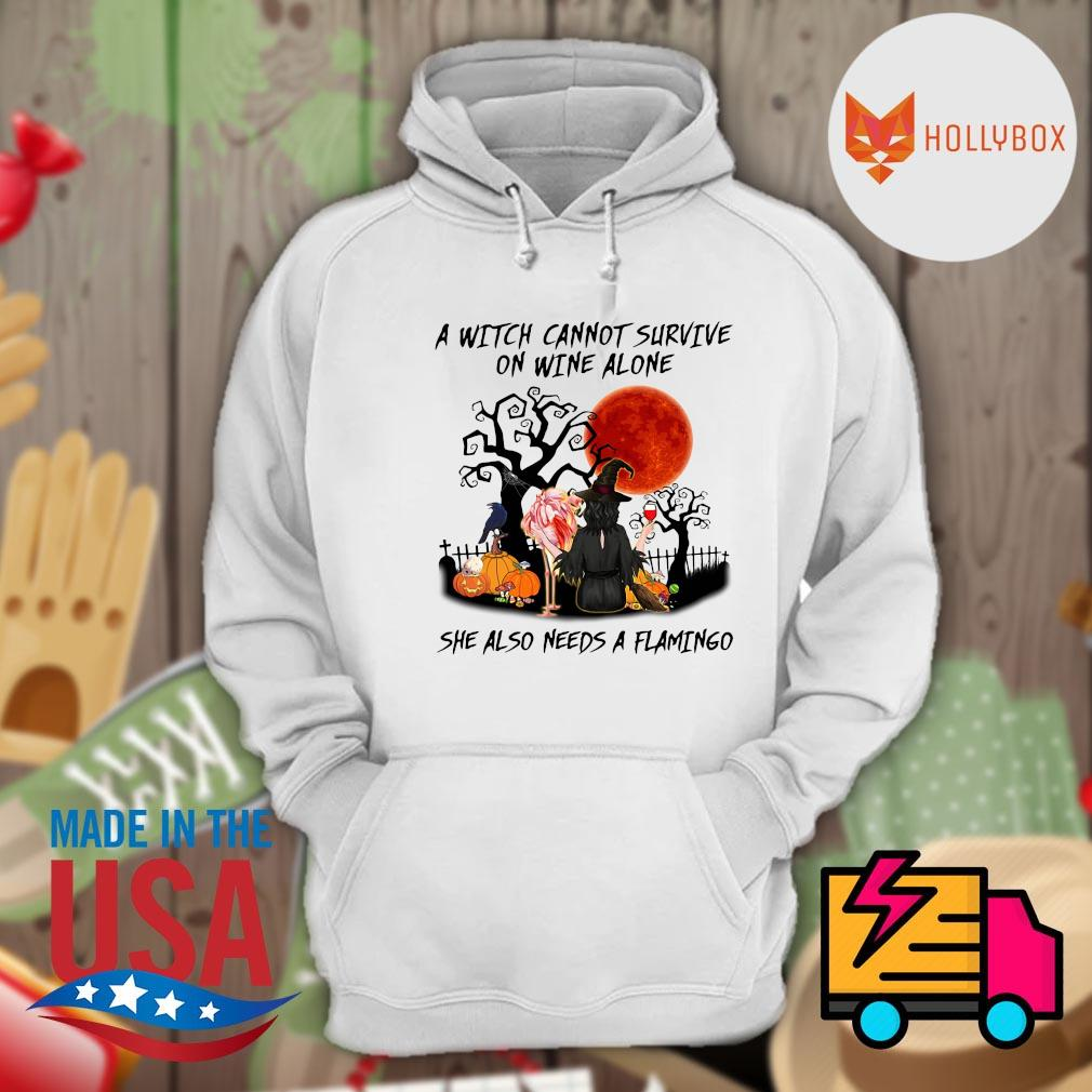 A witch cannot survive on wine alone she also needs a Flamingo Halloween s Hoodie