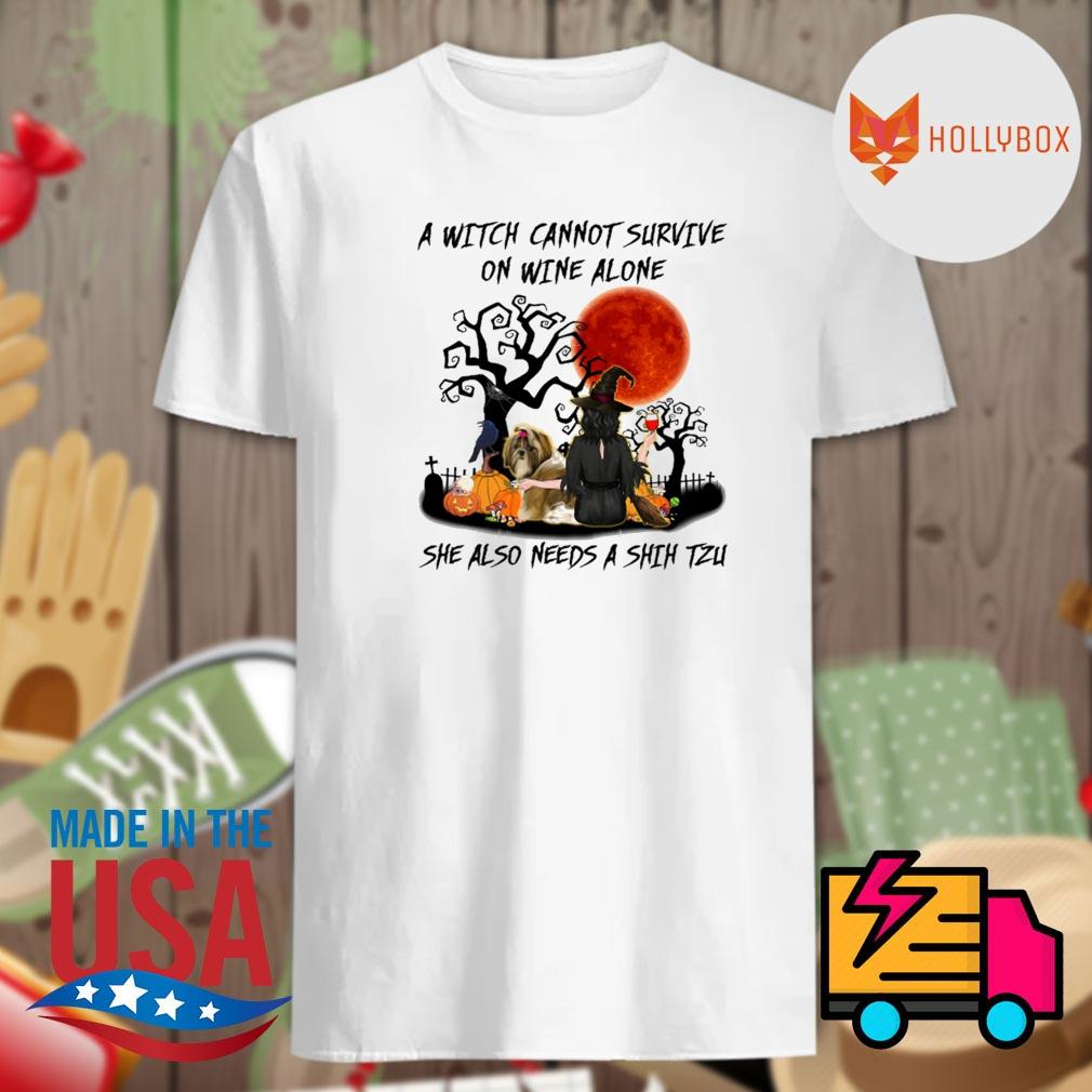 A Witch cannot survive on wine alone she also needs a Shih Tzu Halloween shirt