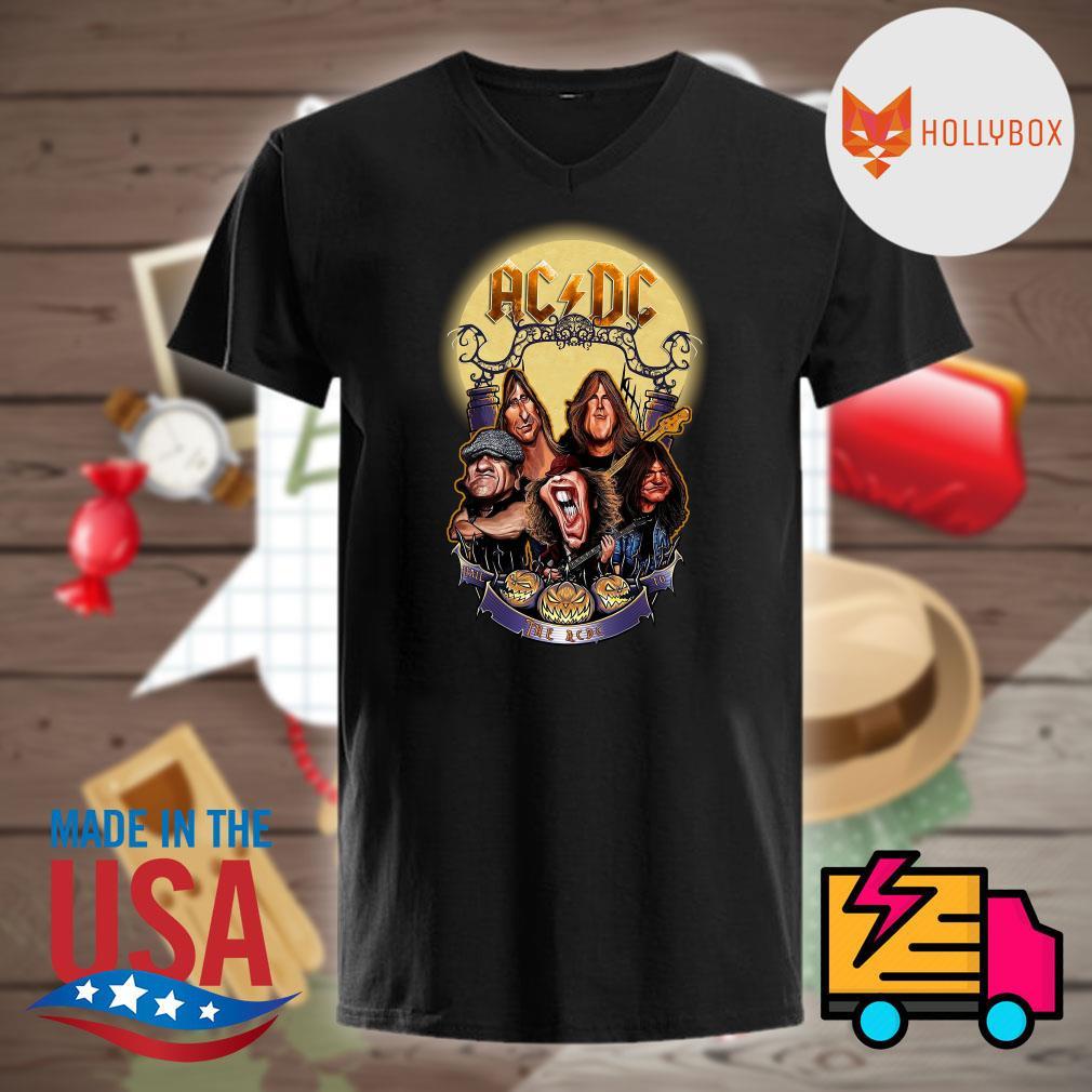AC DC band moon and pumpkin Halloween shirt