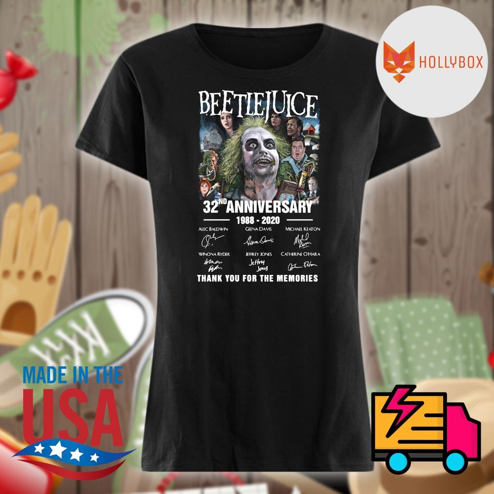 Beetlejuice 32nd anniversary 1988 2020 signatures thank you for the memories s V-neck