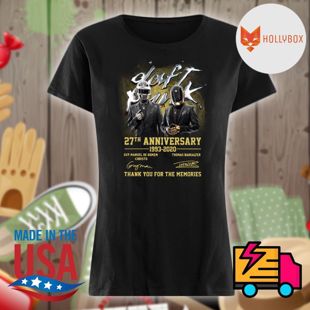 Daft Punk 27th anniversary 1993 2020 Guy Manuel de Homem Christo and Thomas Bangalter signatures thank you for the memories s V-neck