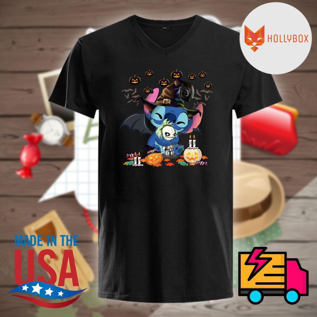 Nightmare Stitch Witch hug Jack Skellington Halloween shirt