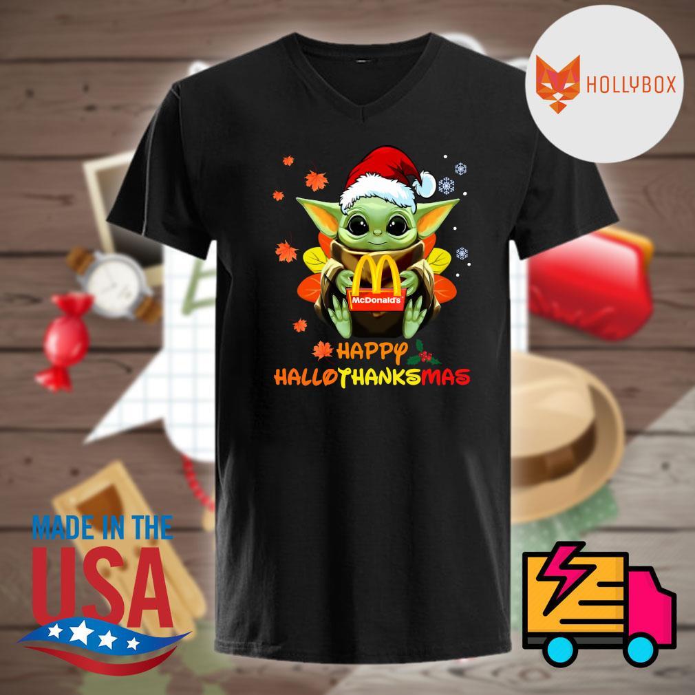 Baby Yoda hug McDonald's happy HalloThanksMas shirt