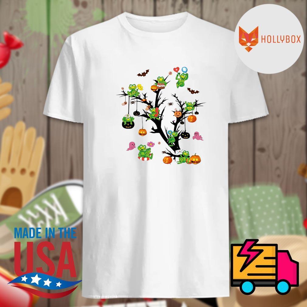 Frogs pumpkin Halloween tree shirt