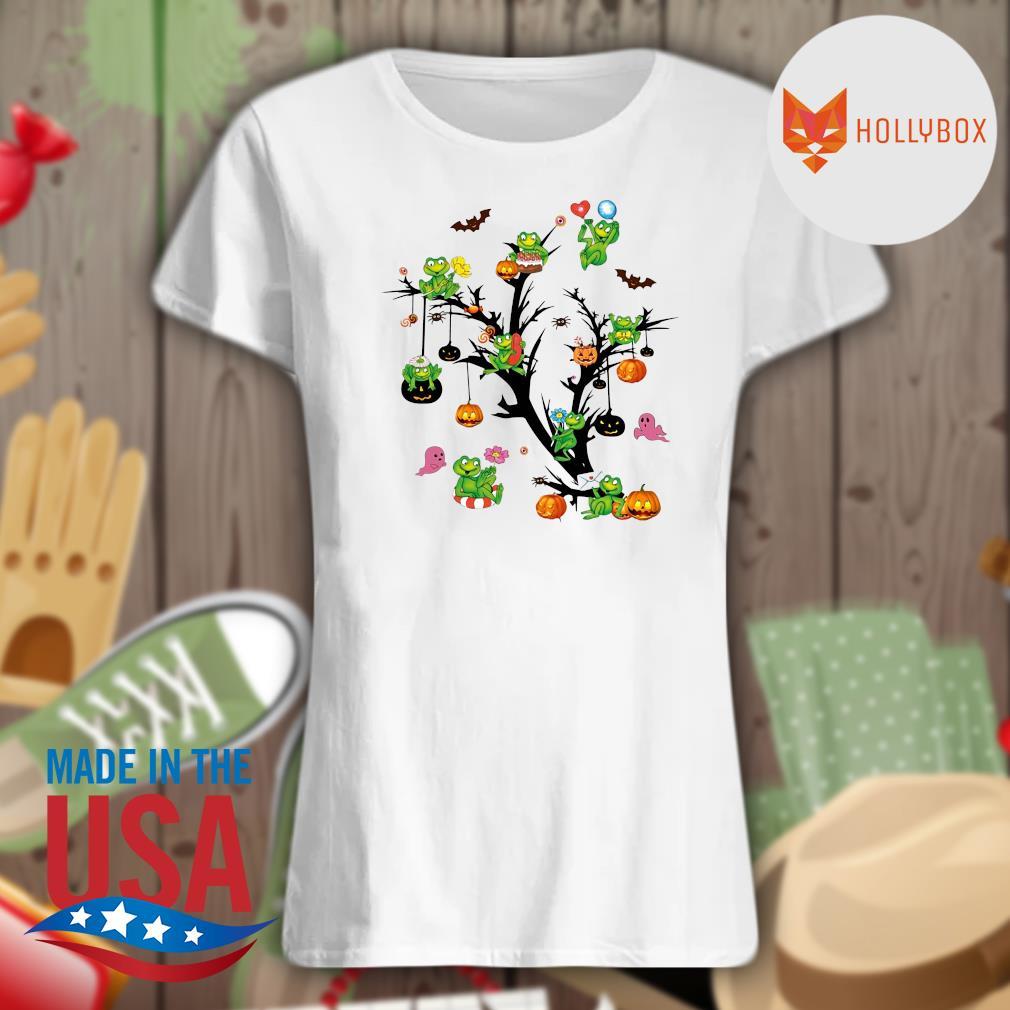 Frogs pumpkin Halloween tree s V-neck